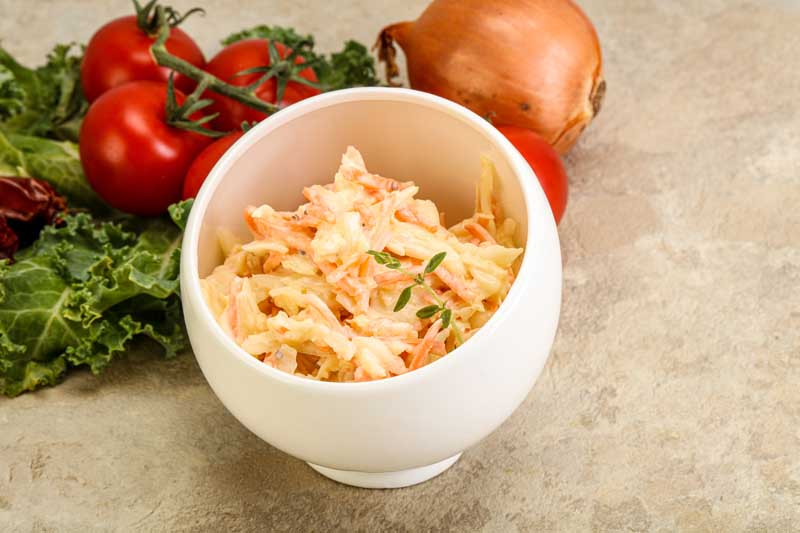 Vegetarian Cole slaw salad with cabbage and carrot